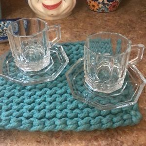 Expresso 2 cups 2 plates crystal made on Italy